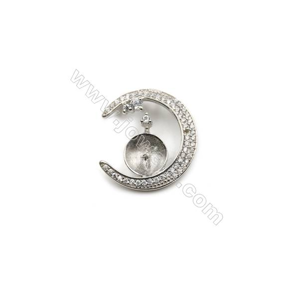 Platinum plated 925 sterling silver zircon pendants, 20mm, x 5pcs, Tray 9mm
