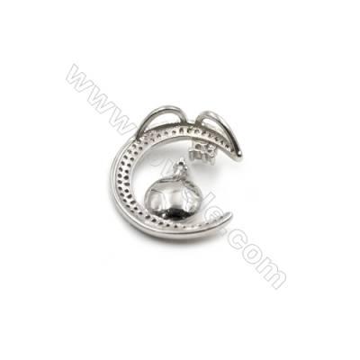 Platinum plated 925 sterling silver zircon pendants in -D5827 20mm x 5pcs disc diameter 9mm