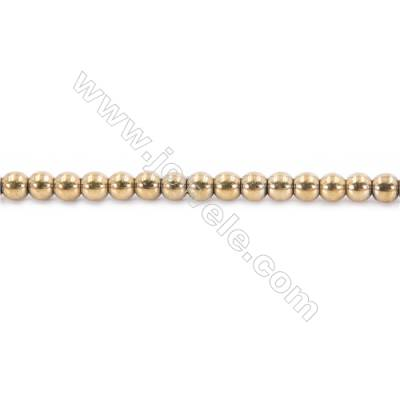 Golden Plating Hematite Beads Strand, Round, Diameter 5mm, hole 1mm, about 85 beads/strand, 15~16""