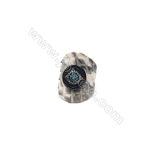Snakeskin Rings(Adjustable), with Gun Black Plated Brass Micro Pave Cubic Zirconia, Eyes, Size 30mm, Inside Diameter 20mm, x1pc