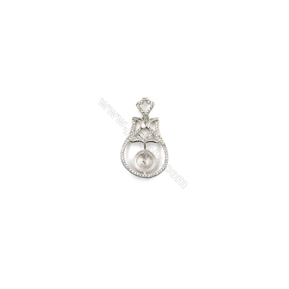 925 Sterling silver zircon pendant platinum plated, 20x28mm, x 5pcs, Tray 9mm