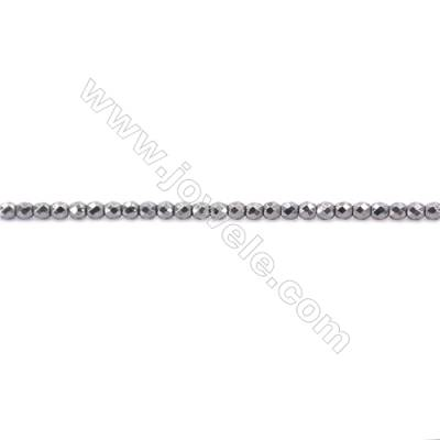 Faceted Hematite Beads Strand, Round, Diameter 2mm, hole 1mm, about 200 beads/strand, 15~16""