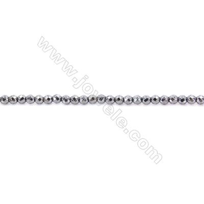 Faceted Hematite Beads Strand, Round, Diameter 3mm, hole 1mm, about 135 beads/strand, 15~16""