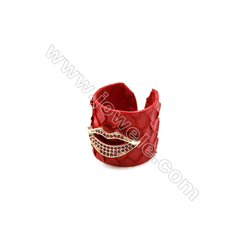 Snakeskin Rings(Adjustable), with Rose Gold Plated Brass Micro Pave Cubic Zirconia, Lips, Size 21mm, Inside Diameter 20mm