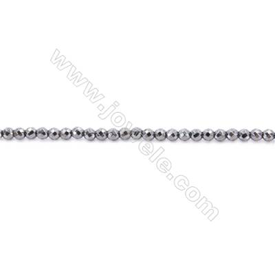 Faceted Hematite Beads Strand, Round, Diameter 4mm, hole 1mm, about 100 beads/strand, 15~16""