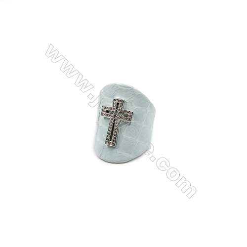 Snakeskin Rings(Adjustable), with Platinum Plated Brass Micro Pave Cubic Zirconia, Cross, Size 31mm, Inside Diameter 20mm