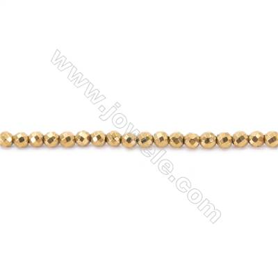 Golden Plating Hematite Beads Strand, Faceted Round, Diameter 6mm, hole 1mm, about 67 beads/strand, 15~16""