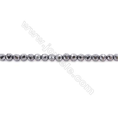 Hematite Beads Strand, Faceted Round, Diameter 6mm, hole 1mm, about 67 beads/strand, 15~16""