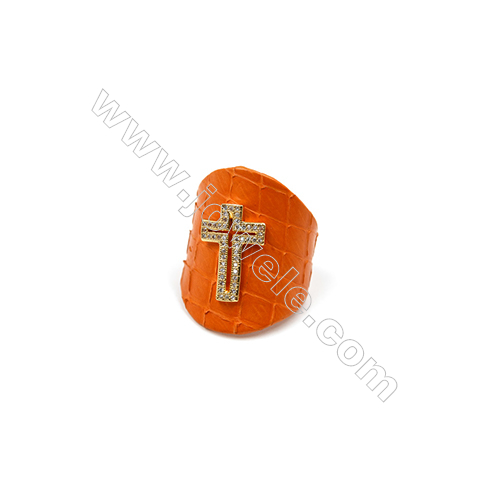 Snakeskin Rings(Adjustable), with Gold Plated Brass Micro Pave Cubic Zirconia, Cross, Size 31mm, Inside Diameter 20mm, x1pc