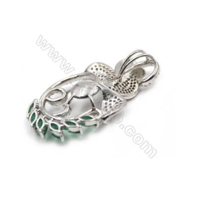 925 Sterling silver zircon pendant  platinum plated-D5509 26x41mm x 5pcs diameter 9mm