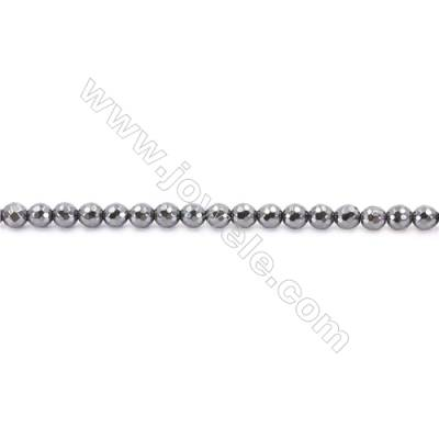 Faceted Hematite Beads Strand, Round, Diameter 6mm, hole 1.5mm, about 67 beads/strand, 15~16""