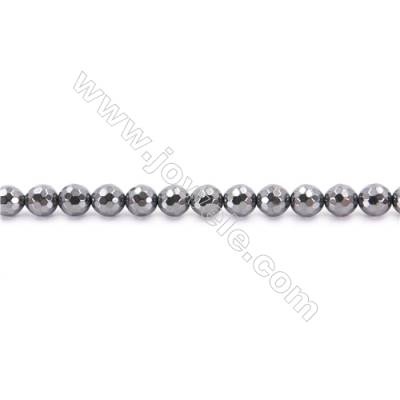 Hematite Beads Strand, Faceted Round, Diameter 8mm, hole 1.5mm, about 50 beads/strand, 15~16""