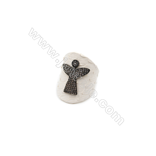 Snakeskin Rings(Adjustable), with Gun Black Plated Brass Micro Pave Cubic Zirconia, Angel, Size 31mm, Inside Diameter 20mm