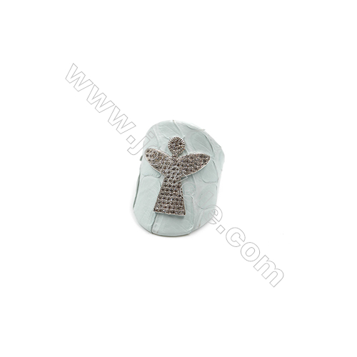 Snakeskin Rings(Adjustable), with Platinum Plated Brass Micro Pave Cubic Zirconia, Angel, Size 31mm, Inside Diameter 20mm