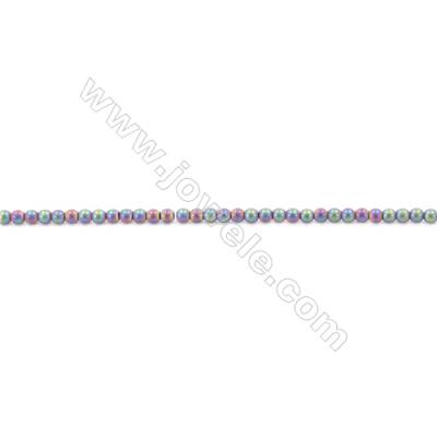 Frosted Rainbow Color Hematite Beads Strand, Round, Diameter 2mm, hole 1mm, about 200 beads/strand, 15~16""
