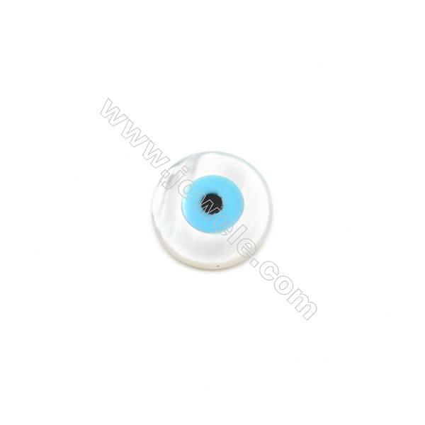 White mother-of-pearl round nazar (blue eye), 10mm, hole 0.8mm, 20pcs/pack