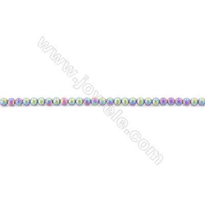 Frosted Rainbow Color Hematite Beads Strand, Round, Diameter 3mm, hole 1mm, about 135 beads/strand, 15~16""