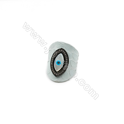 Snakeskin Rings(Adjustable), with Gun Black Plated Brass Micro Pave Cubic Zirconia, Eyes, Size 30mm, Inside Diameter 20mm