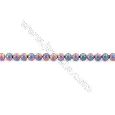 Frosted Rainbow Color Hematite Beads Strand, Round, Diameter 6mm, hole 1mm, about 67 beads/strand, 15~16""