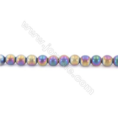 Frosted Rainbow Color Hematite Beads Strand, Faceted Round, Diameter 10mm, hole 1.5mm, about 40 beads/strand, 15~16""