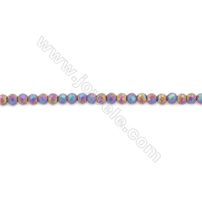 Frosted Rainbow Color Hematite Beads Strand, Faceted Round, Diameter 6mm, Hole 1mm, about 70 beads/strand 15~16""