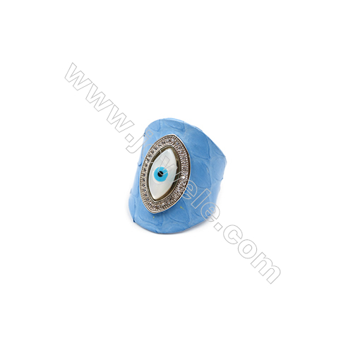 Snakeskin Rings(Adjustable), with Platinum Plated Brass Micro Pave Cubic Zirconia, Eyes, Size 30mm, Inside Diameter 20mm