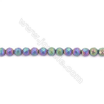 Frosted Rainbow Color Hematite Beads Strand, Faceted Round, Diameter 8mm, Hole 1.5mm, about 50 beads/strand 15~16""