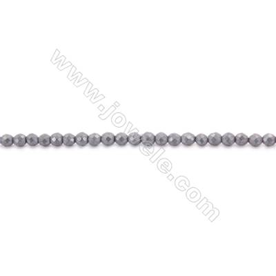 Frosted Hematite Beads Strand, Round, Diameter 12mm, Hole 1.5mm, about 34 beads/strand 15~16""