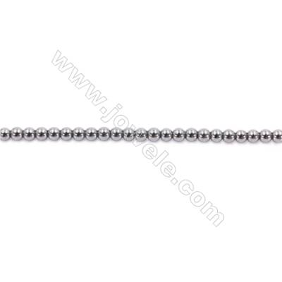 Hematite Beads Strand, Round, Diameter 2mm, Hole 1mm, about 200 beads/strand 15~16""