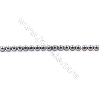 Bright Hematite Beads Strand, Round, Diameter 4mm, Hole 1mm, about 100 beads/strand 15~16""