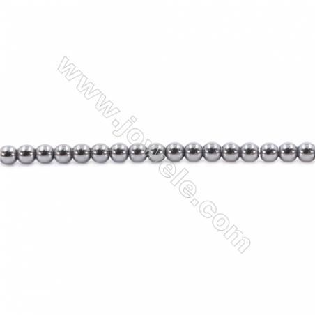 "Bright Hematite Beads Strand, Round, Diameter 4mm, Hole 1mm, about 100 beads/strand 15~16"""