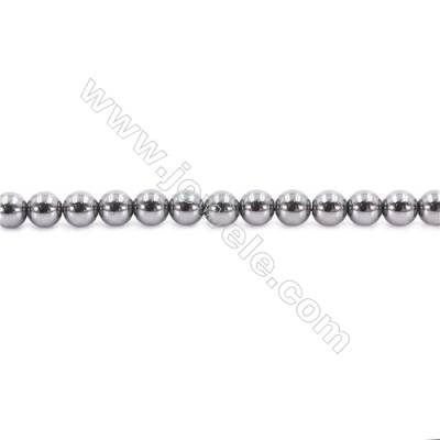 Bright Hematite Beads Strand, Round, Diameter 5mm, Hole 1mm, about 80 beads/strand 15~16""