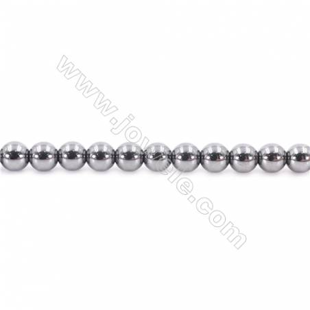 Bright Hematite Beads Strand, Round, Diameter 6mm, Hole 1mm, about 67 beads/strand 15~16""