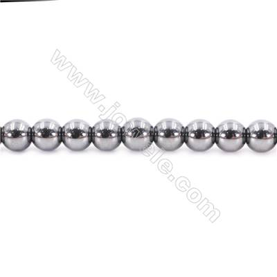 Bright Hematite Beads Strand, Round, Diameter 8mm, Hole 1.5mm, about 50 beads/strand 15~16""