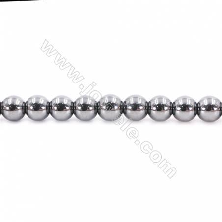 "Bright Hematite Beads Strand, Round, Diameter 8mm, Hole 1.5mm, about 50 beads/strand 15~16"""