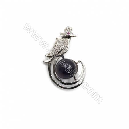 Platinum plated zircon pendants in sterling silver-D5843 18x25mm x 5pcs disc diameter 8mm