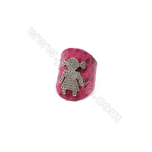 Snakeskin Rings(Adjustable), with Platinum Plated Brass Micro Pave Cubic Zirconia, Girl, Size 30mm, Inside Diameter 20mm