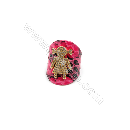 Snakeskin Rings(Adjustable), with Gold Plated Brass Micro Pave Cubic Zirconia, Girl, Size 30mm, Inside Diameter 20mm