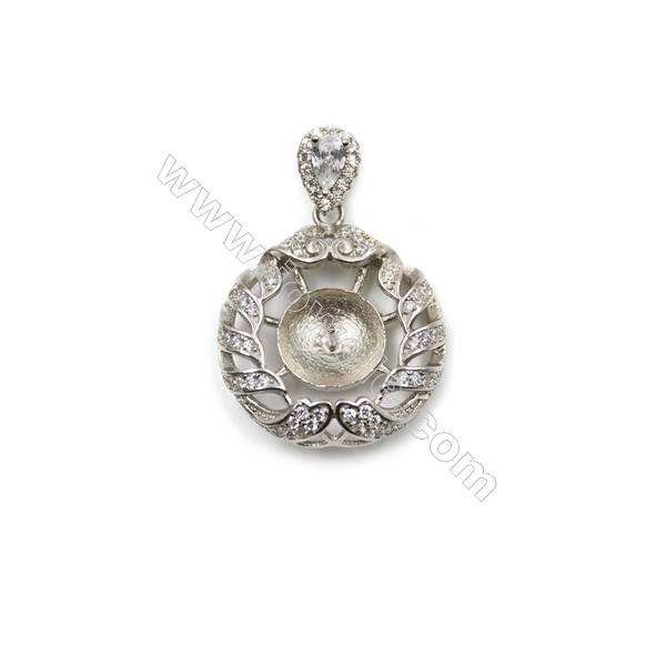 Women jewelry sterling silver platinum plated zircon pendant, 21mm, x 5 pcs, Tray 11mm