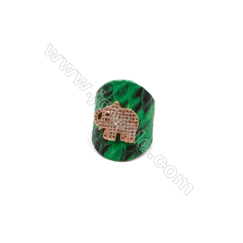 Snakeskin Rings(Adjustable), with Rose Gold Plated Brass Micro Pave Cubic Zirconia, Elephant, Size 31mm, Inside Diameter 20mm