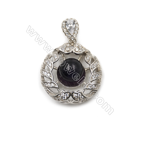 Women jewelry sterling silver platinum plated zircon pendant-D5736 21mm x 5 pcs  disc diameter 11mm