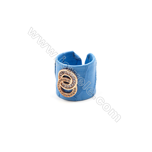 Snakeskin Rings(Adjustable), with Platinum Plated Brass Pave Cubic Zirconia, Circular Ring, Size 21mm, Inside Diameter 20mm