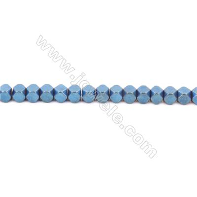 Blue Colors Plated Hematite Beads Strand, Cube, Size 4x4mm, Hole 1mm, about 100 beads/strand 15~16""