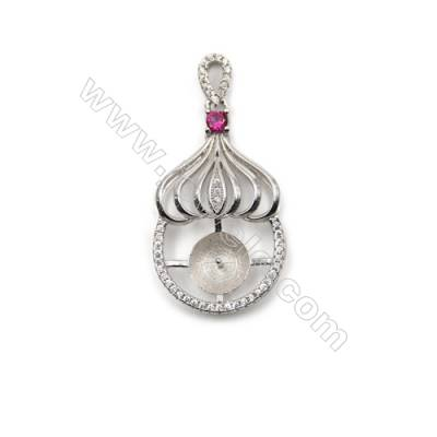 925 sterling silver platinum plated zircon pendant, 18x31mm, x 5mm, Tray 9mm