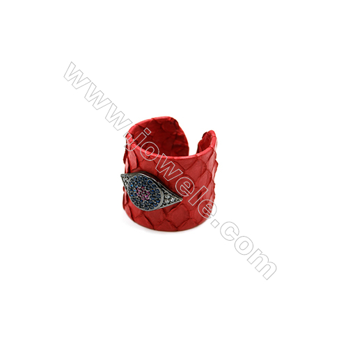 Snakeskin Rings(Adjustable), with Gun Black Plated Brass Micro Pave Cubic Zirconia, Eyes, Size 21mm, Inside Diameter 20mm