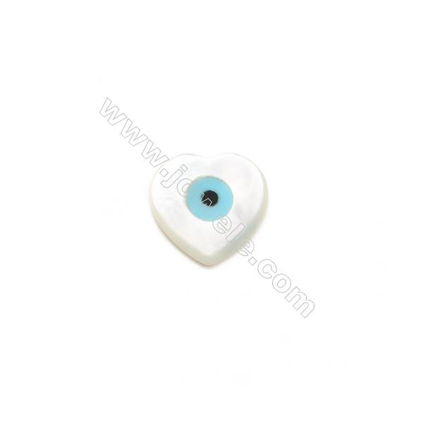 Heart-designed blue evil eye white mother-of-pearl shell, 10x10mm, hole 0.9mm, 20pcs/pack