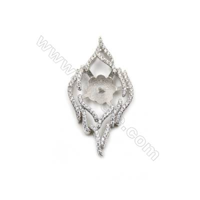 Sterling silver zircon pendant, platinum plated, 20x36mm, x 5pcs, Tray 10 mm