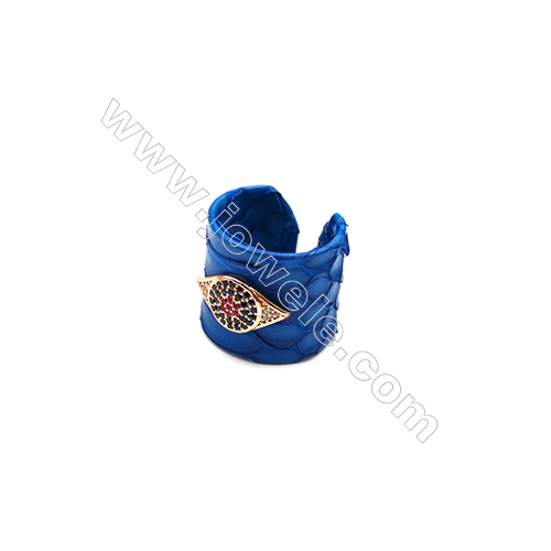 Snakeskin Rings(Adjustable), with Rose Gold Plated Brass Micro Pave Cubic Zirconia, Eyes, Size 21mm, Inside Diameter 20mm