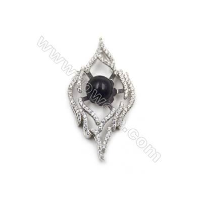 Sterling silver zircon pendant  platinum plated -D5479 20x36mm x 5pcs  disc diameter 10 mm