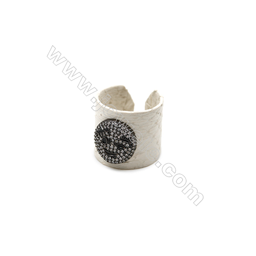 Snakeskin Rings(Adjustable), with Gun Black Plated Brass Micro Pave Cubic Zirconia, Width 21mm, Size 20mm